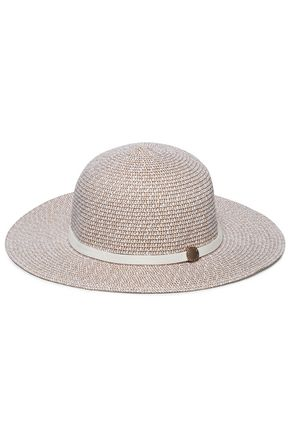MELISSA ODABASH Colette leather-trimmed straw sunhat