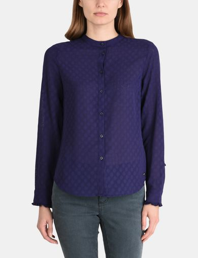 RUFFLED CUFF BAND COLLAR SHIRT