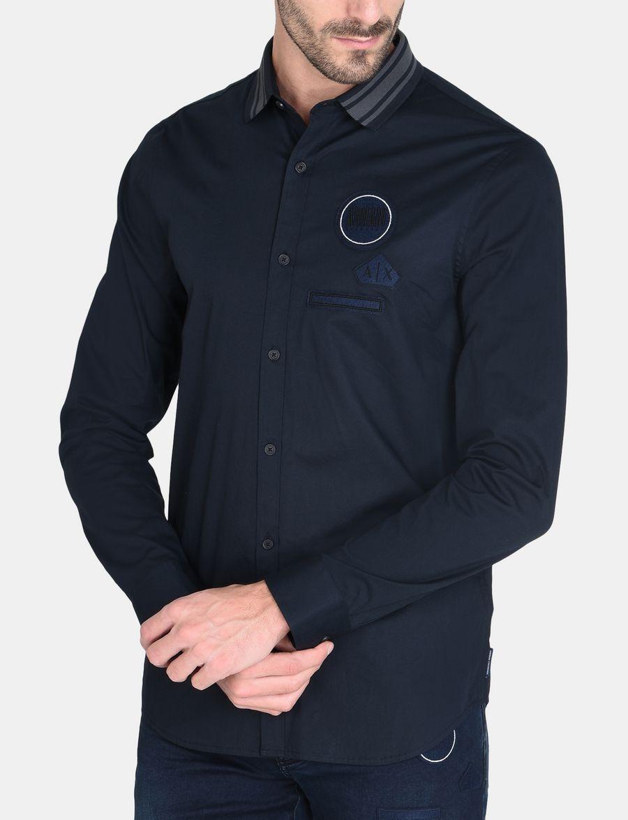 Armani Exchange Logo Patch Knit Collar Shirt Langarmeliges