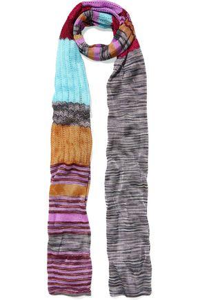 WALT & BROWN Metallic crochet-knit scarf