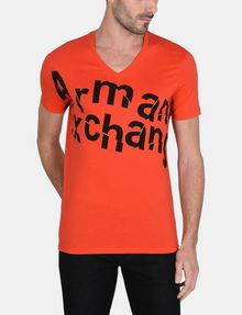 ARMANI EXCHANGE SPLINTERED LOGO V-NECK Logo T-shirt Man f