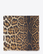SAINT LAURENT Squared Scarves D Large square leopard scarf in beige and black etamine f