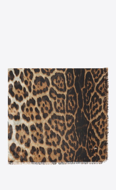 SAINT LAURENT Squared Scarves Woman Large square leopard scarf in beige and black etamine a_V4