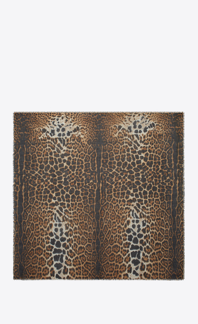SAINT LAURENT Squared Scarves Woman Large square leopard scarf in beige and black etamine b_V4