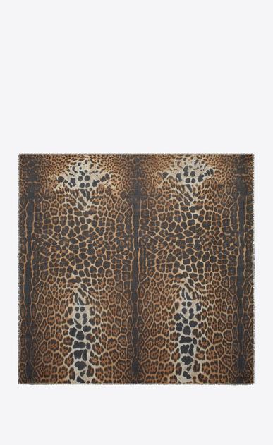 SAINT LAURENT Foulard Quadrati D Sciarpa large quadrata leopard beige e nera in etamina b_V4