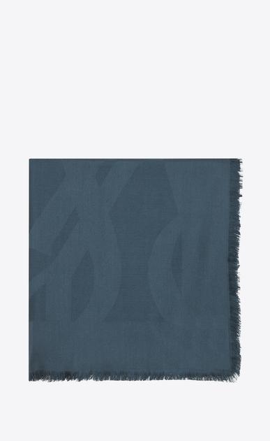 SAINT LAURENT Carrés Femme Grand carré YSL en jacquard de soie bleu a_V4