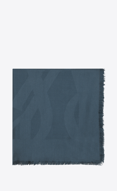 SAINT LAURENT Quadratische Schals D Großes YSL-Carré aus blauem Seidenjacquard a_V4