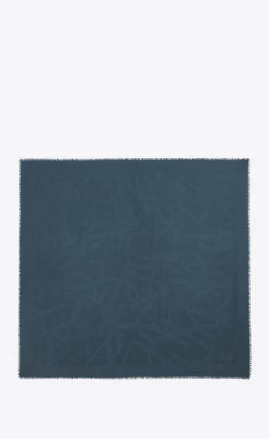 SAINT LAURENT Carrés D Grand carré YSL en jacquard de soie bleu b_V4