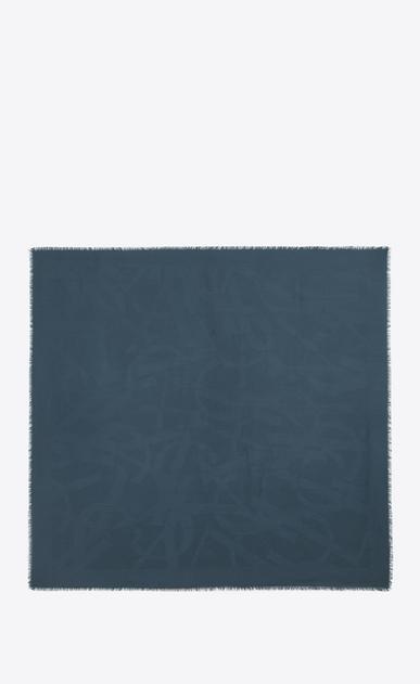 SAINT LAURENT Quadratische Schals D Großes YSL-Carré aus blauem Seidenjacquard b_V4