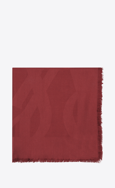 SAINT LAURENT Squared Scarves Woman Large YSL square in red silk jacquard a_V4