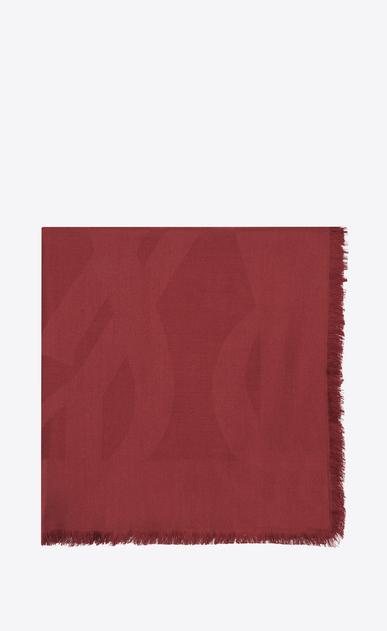 SAINT LAURENT Carrés Femme Grand carré YSL en jacquard de soie rouge a_V4