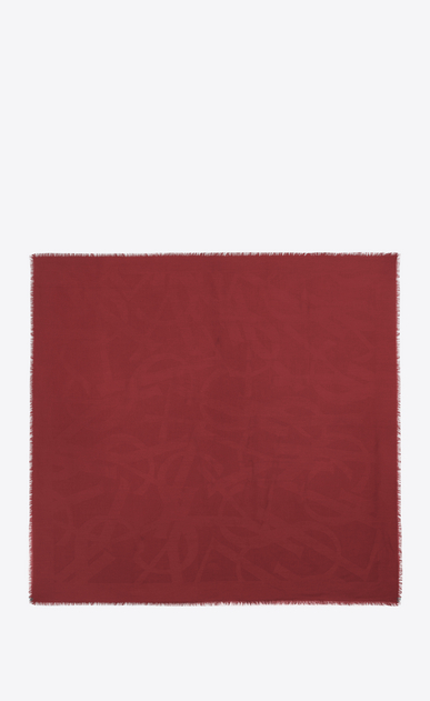 SAINT LAURENT Squared Scarves D Large YSL square in red silk jacquard b_V4