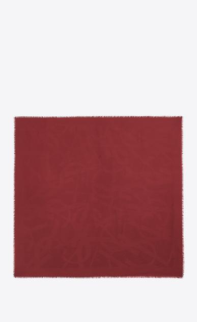 SAINT LAURENT Carrés Femme Grand carré YSL en jacquard de soie rouge b_V4