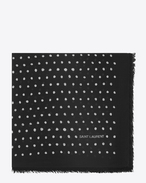 SAINT LAURENT Squared Scarves D Large square polka dot scarf in black and ivory wool twill f