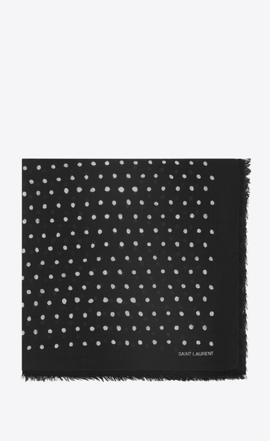 SAINT LAURENT Squared Scarves Woman Large square polka dot scarf in black and ivory wool twill a_V4