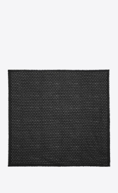 SAINT LAURENT Squared Scarves Woman Large square polka dot scarf in black and ivory wool twill b_V4
