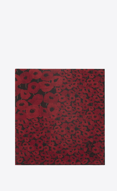 SAINT LAURENT Squared Scarves D Large square POPPY scarf in black and red etamine a_V4