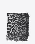 SAINT LAURENT Squared Scarves D Large square leopard scarf in black and graphite wool cloth f