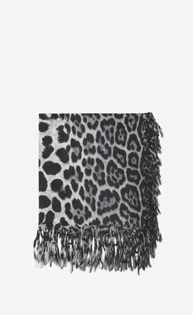 SAINT LAURENT Squared Scarves Woman Large square leopard scarf in black and graphite wool cloth a_V4