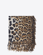 SAINT LAURENT Squared Scarves D Large square leopard scarf in black and beige wool cloth f