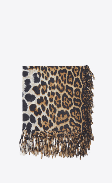 SAINT LAURENT Squared Scarves Woman Large square leopard scarf in black and beige wool cloth a_V4