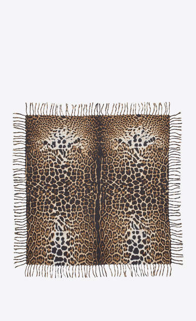 SAINT LAURENT Squared Scarves Woman Large square leopard scarf in black and beige wool cloth b_V4