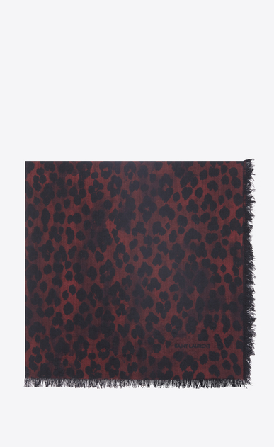 SAINT LAURENT Squared Scarves Woman Large square leopard scarf in red and black etamine a_V4