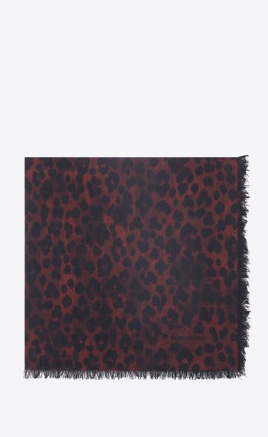 SAINT LAURENT Carrés Femme Grand carré léopard en étamine rouge et noir a_V4
