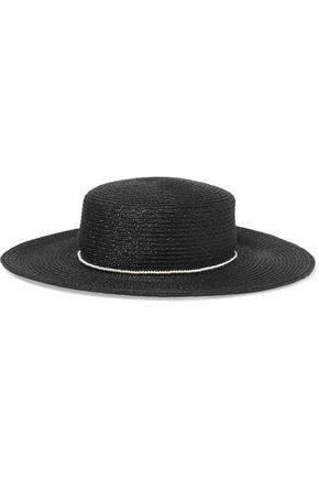 0fe5ea31bf455 Eugenia Kim Woman Colette Bow And Faux Pearl-Embellished Paper Sunhat White  In Black