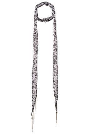 CHAN LUU Embellished leopard-print georgette scarf