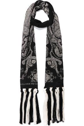 ALEXANDER MCQUEEN Fringed paisley-print silk-crepe scarf