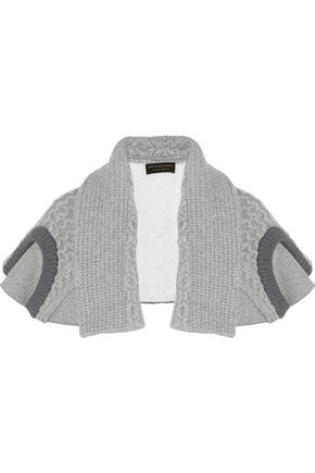 BURBERRY Cotton-blend jersey and cable-knit cape