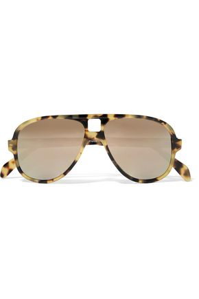 ACNE STUDIOS Hole aviator-style tortoiseshell acetate mirrored sunglasses