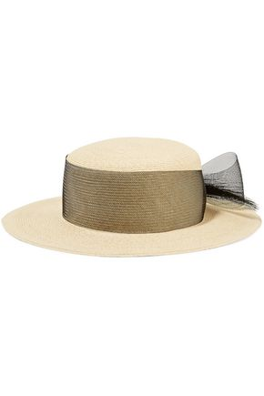 EUGENIA KIM Colette bow and faux pearl-embellished paper sunhat
