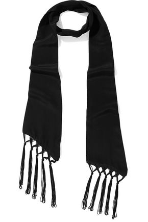 IRIS & INK Claudia fringed silk-chiffon scarf