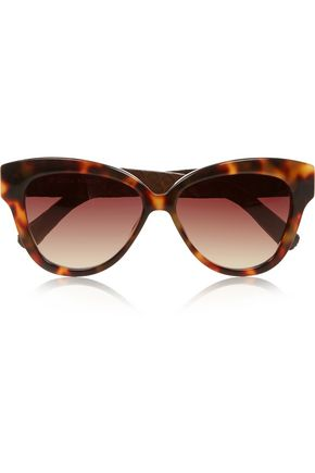 LINDA FARROW Cat eye tortoiseshell acetate and glossed-elaphe sunglasses
