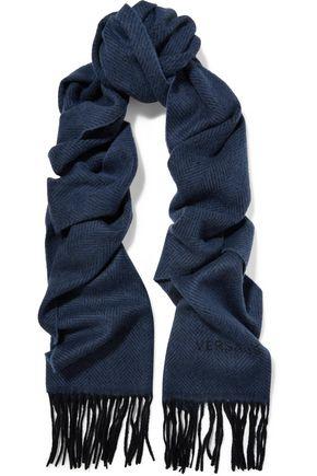 GIANNI VERSACE Fringed herringbone wool felt scarf