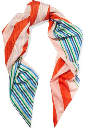 DIANE VON FURSTENBERG Printed cotton and silk-blend voile scarf