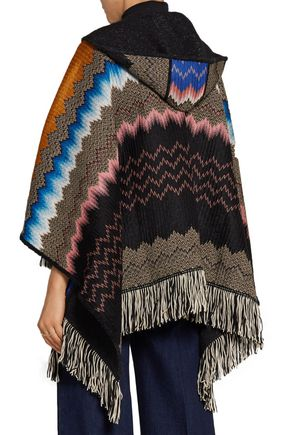 MISSONI Fringed crochet-knit hooded wrap