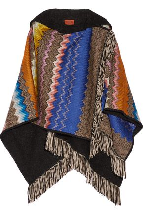 MISSONI Fringed crochet-knit hooded wrap