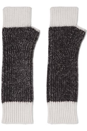 DUFFY Two-tone merino wool-blend fingerless gloves