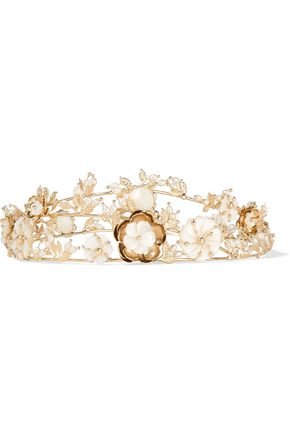 ROSANTICA Vanusita gold-tone mother-of-pearl headpiece