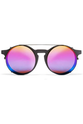 SUNDAY SOMEWHERE Matahari convertible round-frame matte-acetate mirrored sunglasses