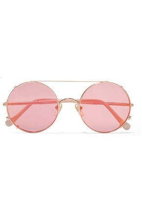 SUNDAY SOMEWHERE Valentine convertible round-frame rose gold-tone mirrored sunglasses