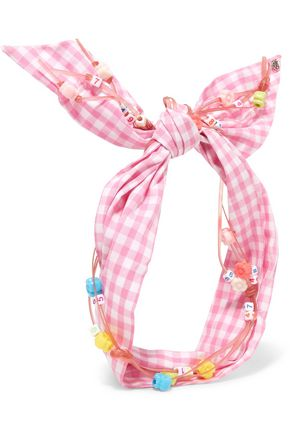 MAISON MICHEL Calie embellished gingham cotton headband