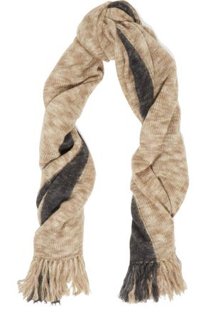 ISABEL MARANT Izia fringed two-tone mohair-blend scarf