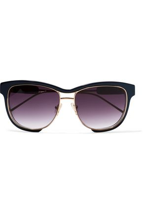 SACAI + Linda Farrow square-frame acetate and gold-tone sunglasses