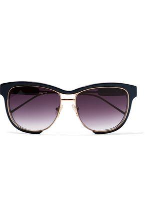 SACAI + Linda Farrow square-frame acetate and gold-tone sunglasses
