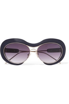 SACAI + Linda Farrow round-frame acetate and gold-tone sunglasses