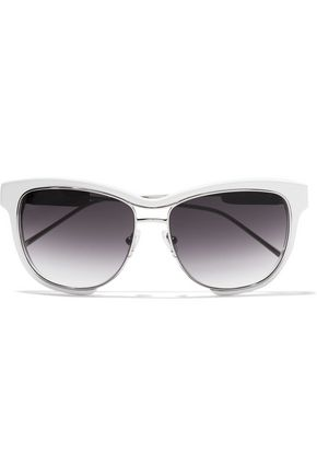 SACAI + Linda Farrow square-frame acetate and silver-tone sunglasses